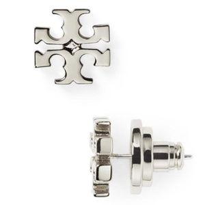 Tory Burch silver logo earrings